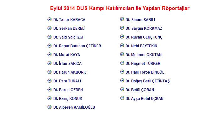 Eylül 2014 DUS Kampı Katılımcıları ile Yapılan Röportajlar